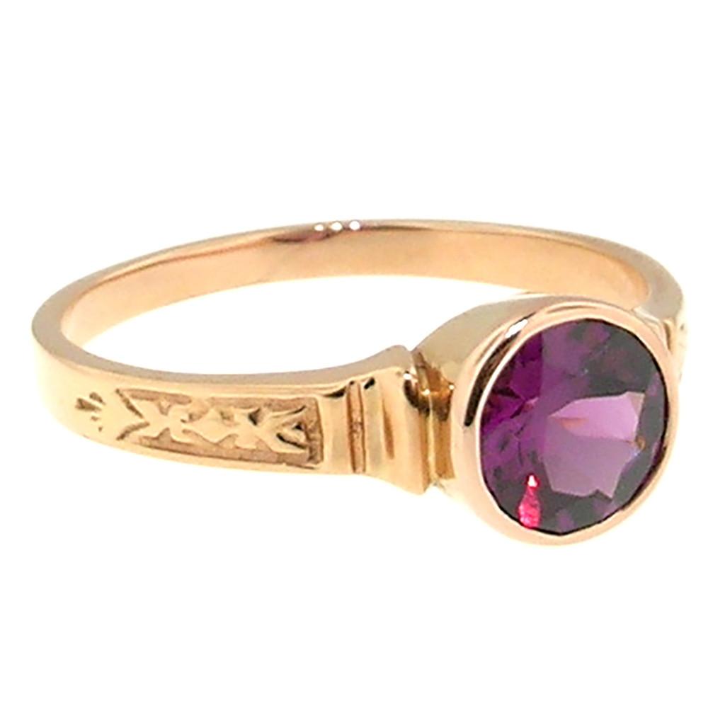 Purple Garnet 18kt Cassandra Ring made in USA by Cynthia Scott Jewelry