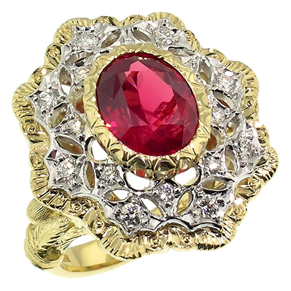 Mahenge Spinel Diamond 18kt Giulia Ring made in Florence, Italy by Cynthia Scott Jewelry