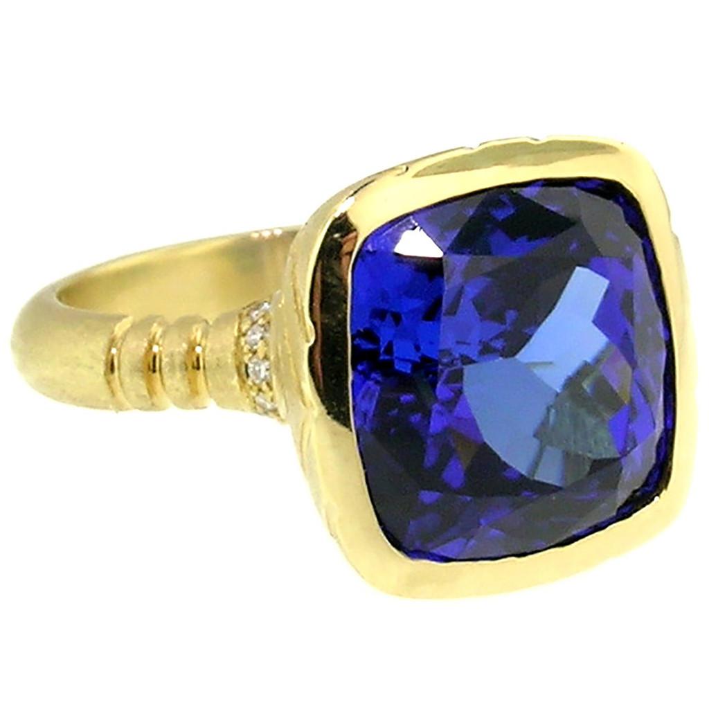10.52ct Tanzanite Custom 18kt Ring made in USA by Cynthia Scott Jewelry