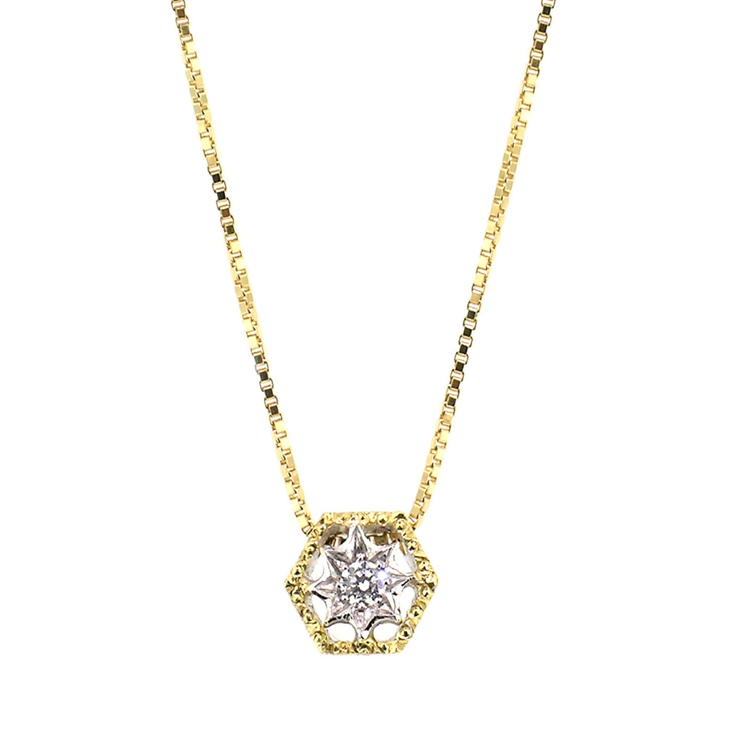 Honeycomb Florentine Engraved 18kt Gold Necklace made in Florence Italy for Cynthia Scott Jewelry