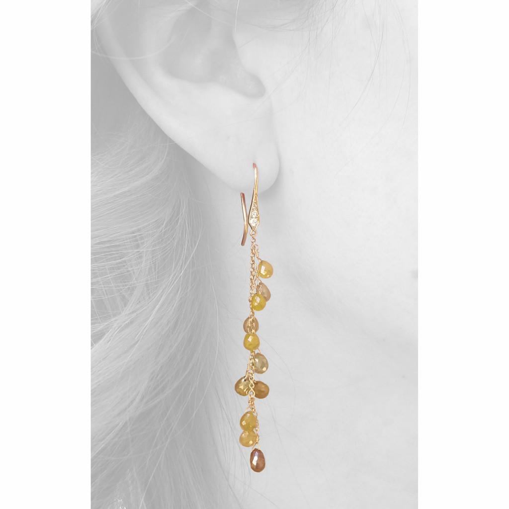 Raw Diamond Briolette 18kt Earrings made in USA by Dan Peligrad for Cynthia Scott Jewelry