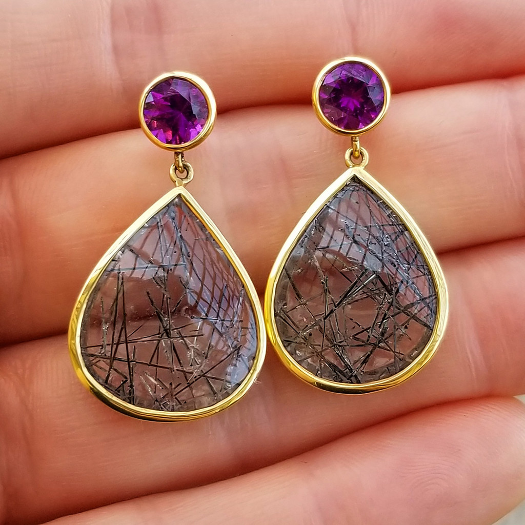 Purple Grape Garnet and Tourmalinated Quartz 18kt Earrings made in USA by Cynthia Scott Jewelry