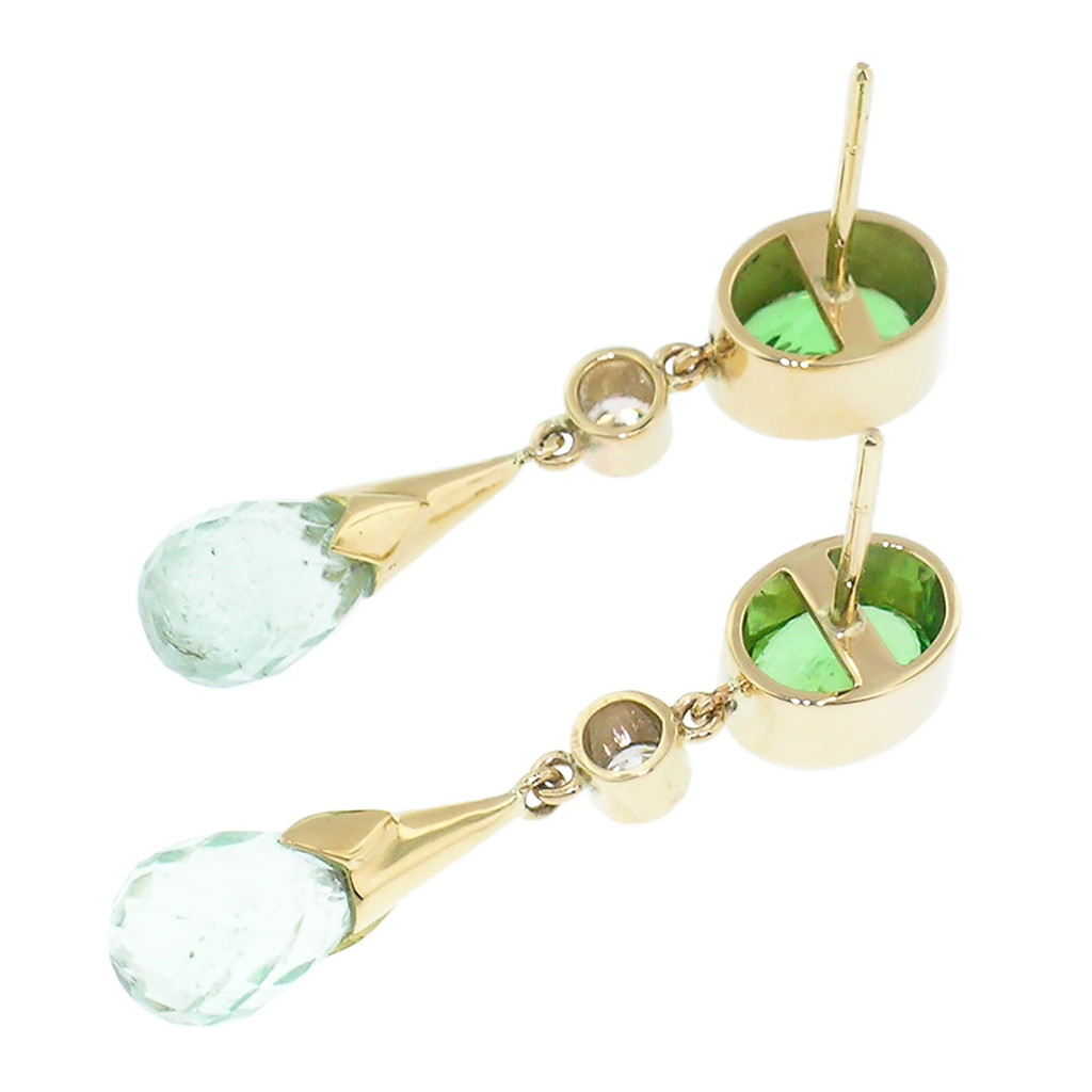 Tsavorite Garnet and Mint Tourmaline 18kt Earrings made in USA by Cynthia Scott Jewelry