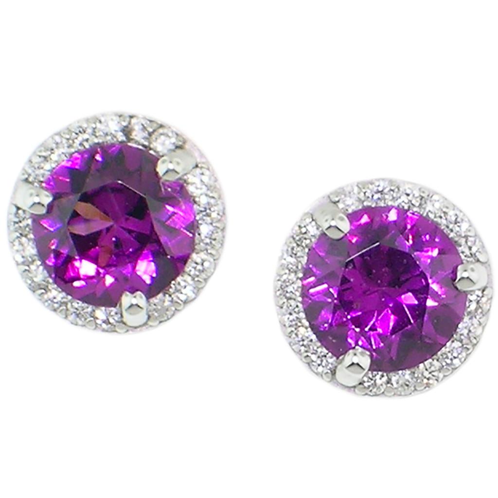 Purple Grape Garnet & Diamond 18kt Martini Halo Earring made in USA by Cynthia Scott Jewelry