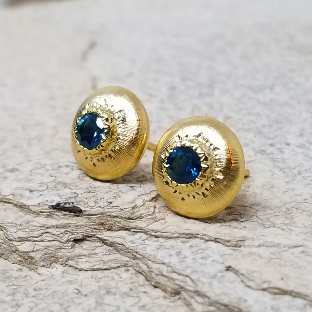 Montana Sapphire Bianca Stud Earrings made in Italy by Cynthia Scott Jewelry
