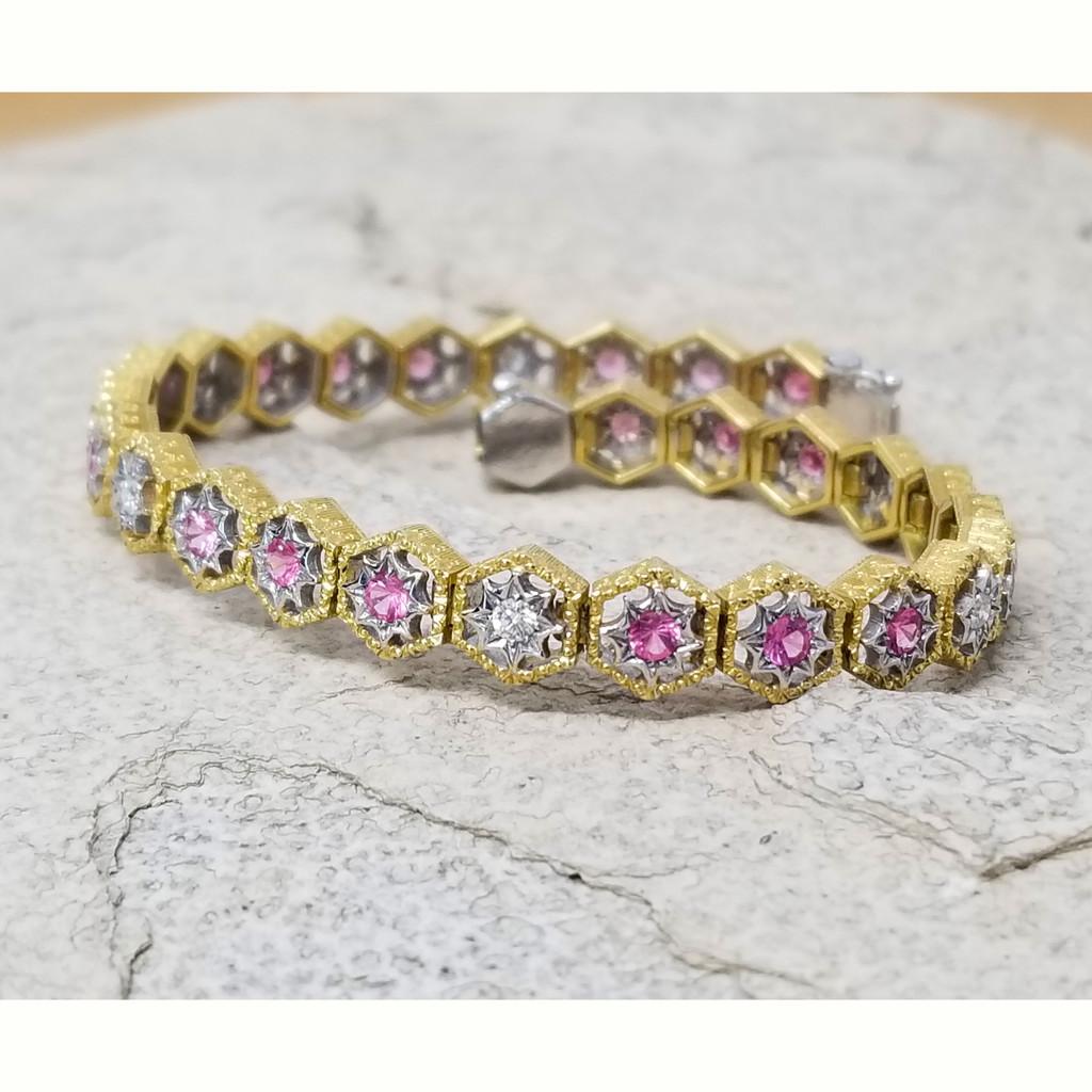 Mahenge Spinel & Diamond 18kt Honeycomb Bracelet made in Italy for Cynthia Scott Jewelry
