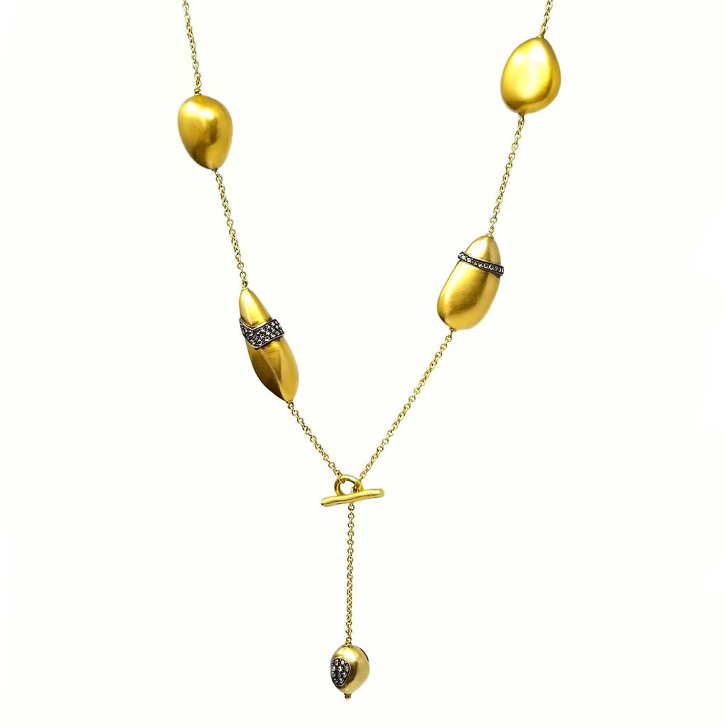 Rose Cut Diamond & 18kt Pebble Necklace