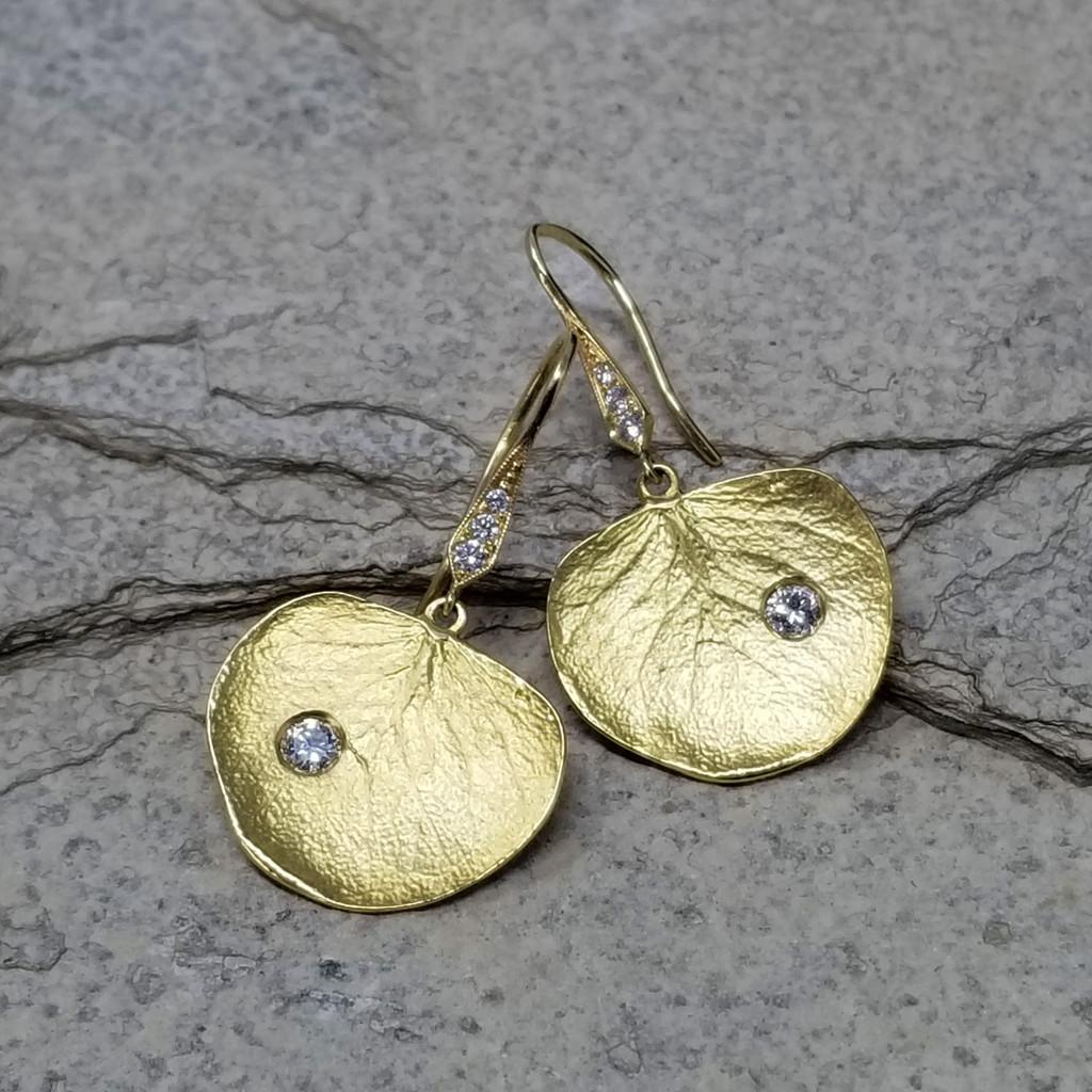 Diamond and 18kt Eucalyptus Leaf Earrings made by Dan Peligrad for Cynthia Scott Jewelry
