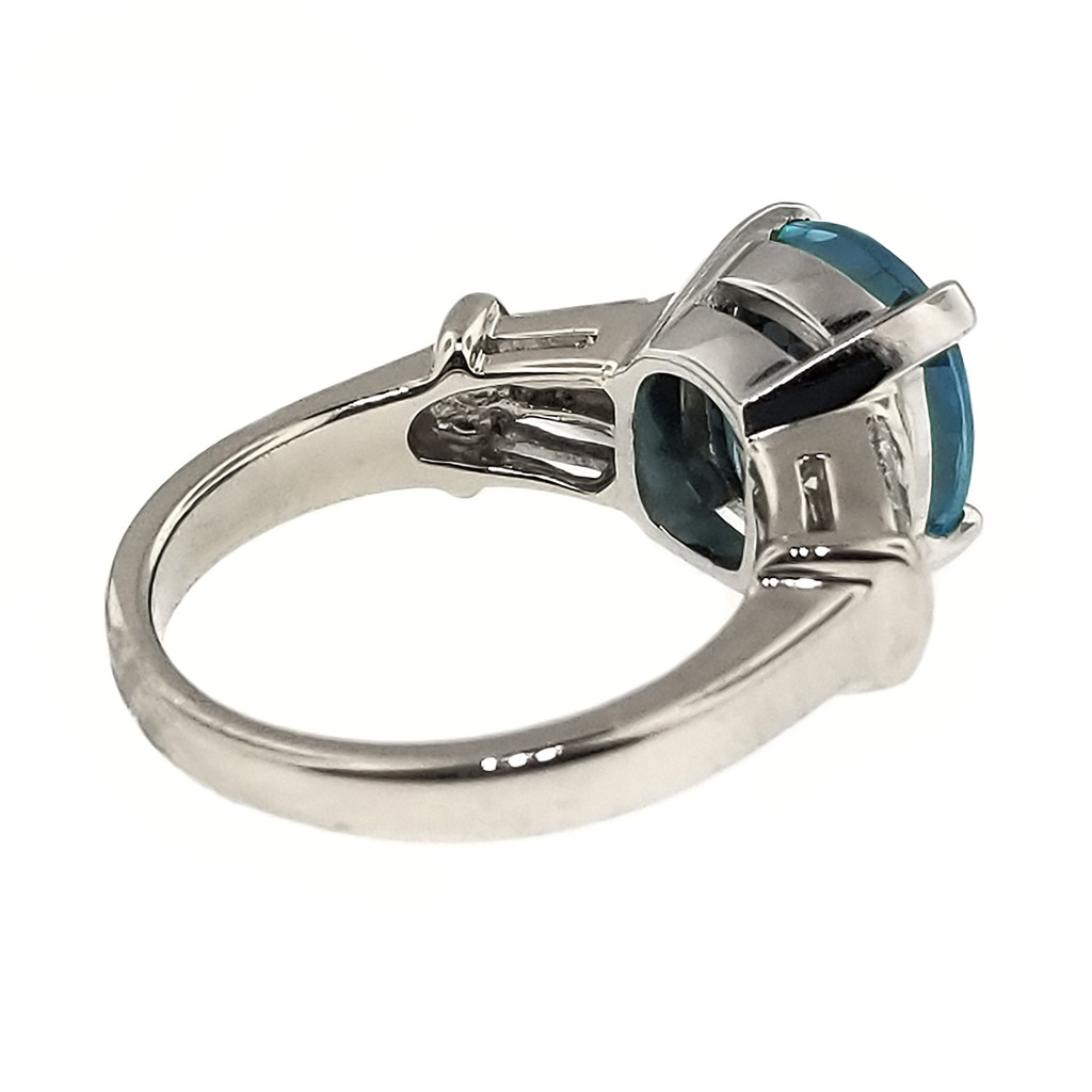 Blue Zircon and Diamond 18kt Classic Ring by Cynthia Scott Jewelry