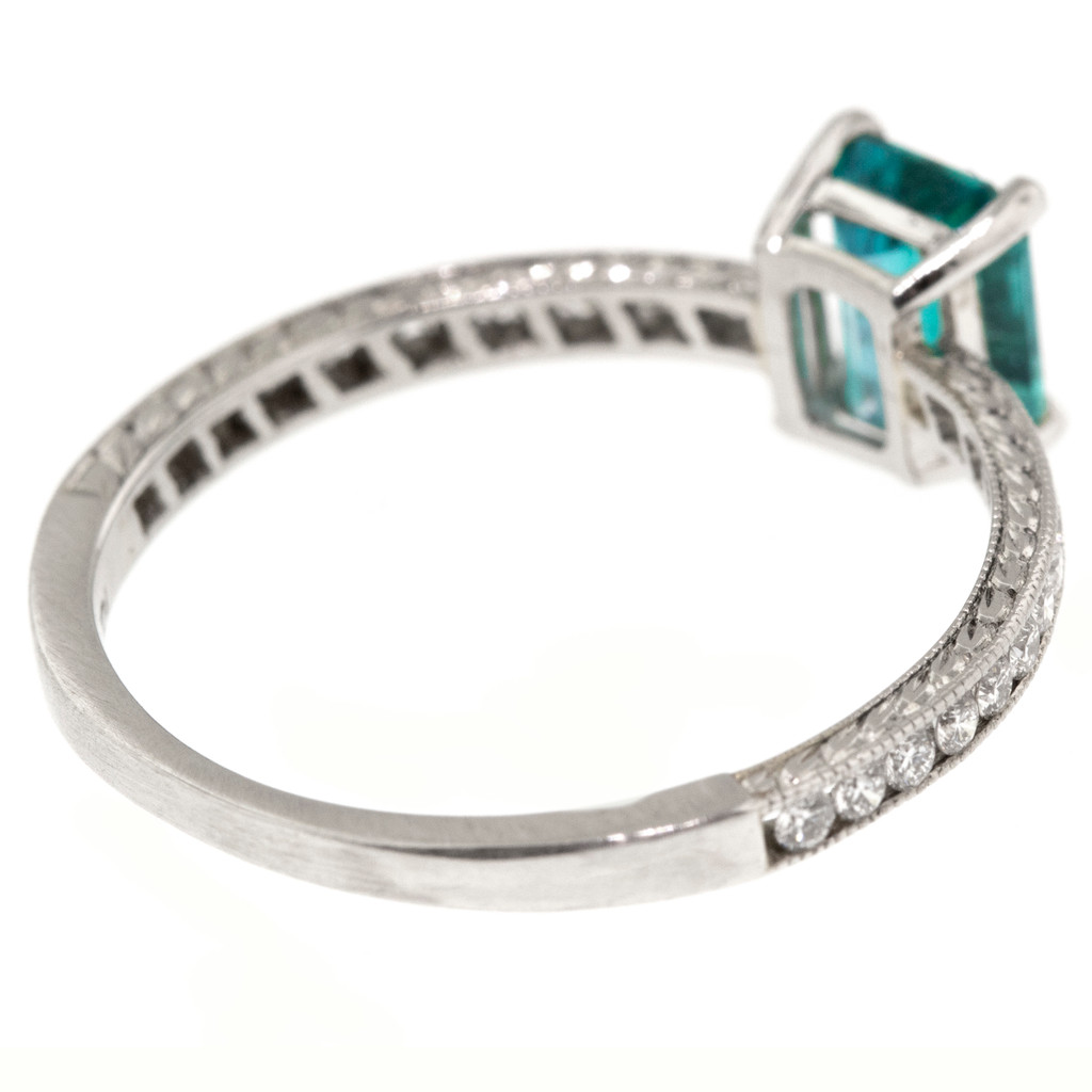 Brazilian Paraiba Tourmaline Platinum Ring made in USA by Cynthia Scott Jewelry