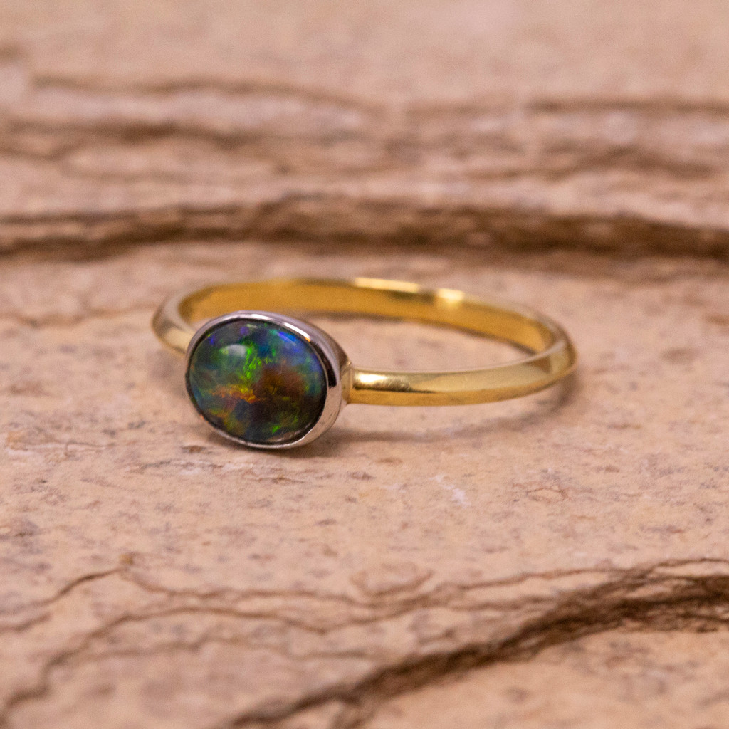 Australian Black Opal Paloma 18kt Gold Ring made in USA by Cynthia Scott Jewelry