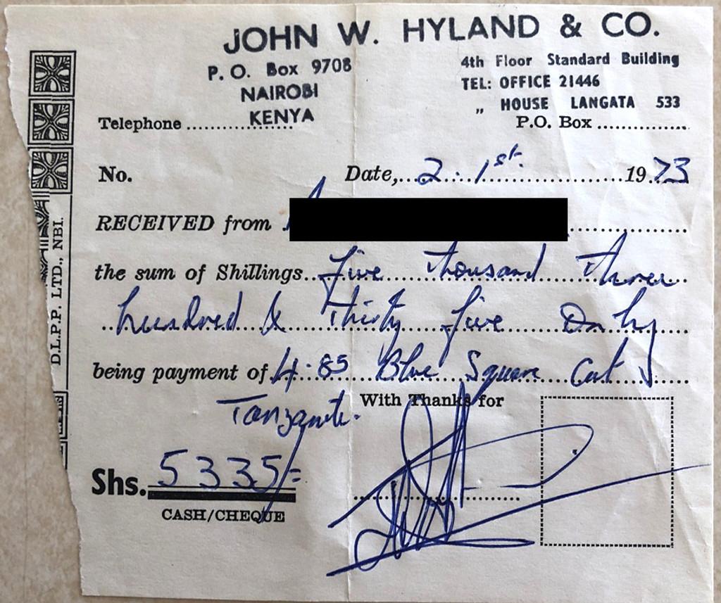 Original Purchase Receipt for Tanzanite (1973)