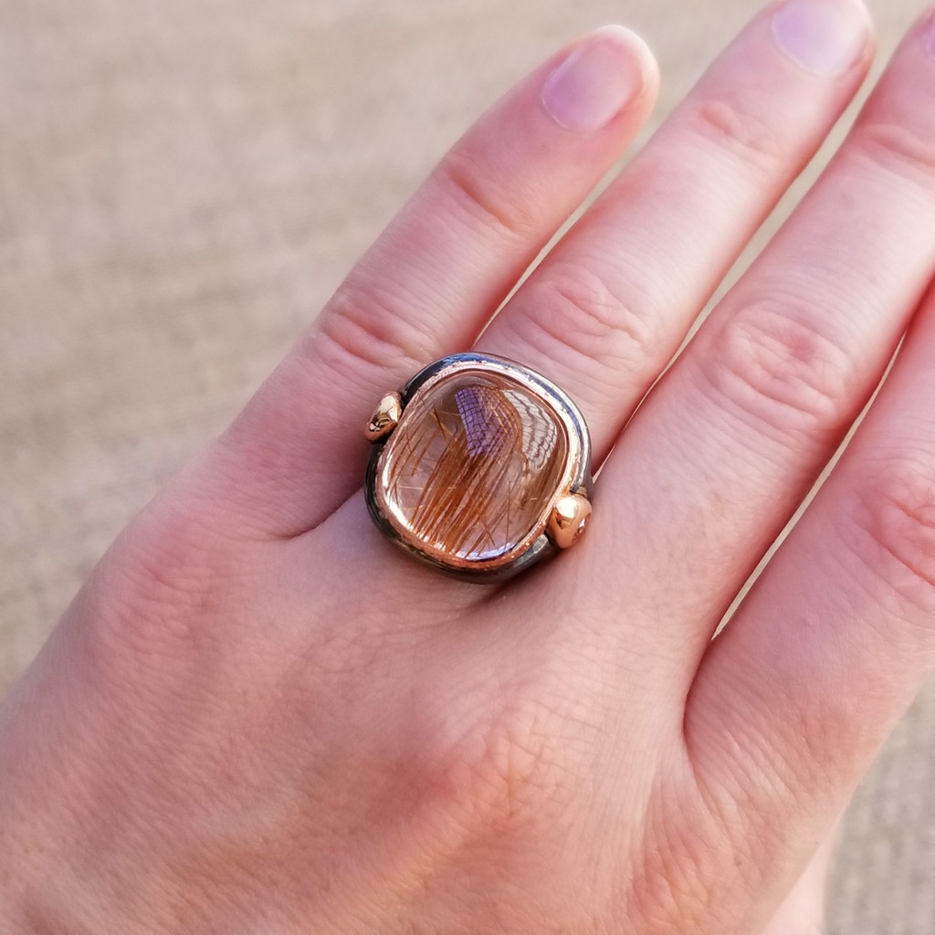 38.5ct Rutillated Quartz and Peach Cognac Diamond Ring made in USA by Dan Peligrad for Cynthia Scott Jewelry