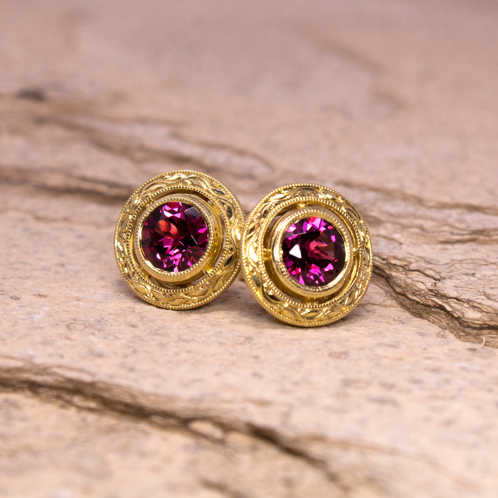 1.98ct Rhodolite Garnet 18kt Engraved Earrings made in USA for Cynthia Scott Jewelry