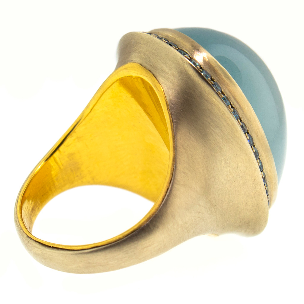 Aquamarine and Blue Diamond 18kt and 22kt Ring made in USA by Dan Peligrad for Cynthia Scott Jewelry