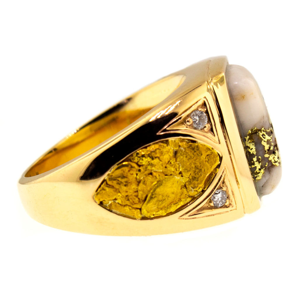 Gold Bearing Quartz and Gold Nugget Men's Ring made in USA for Cynthia Scott Jewelry