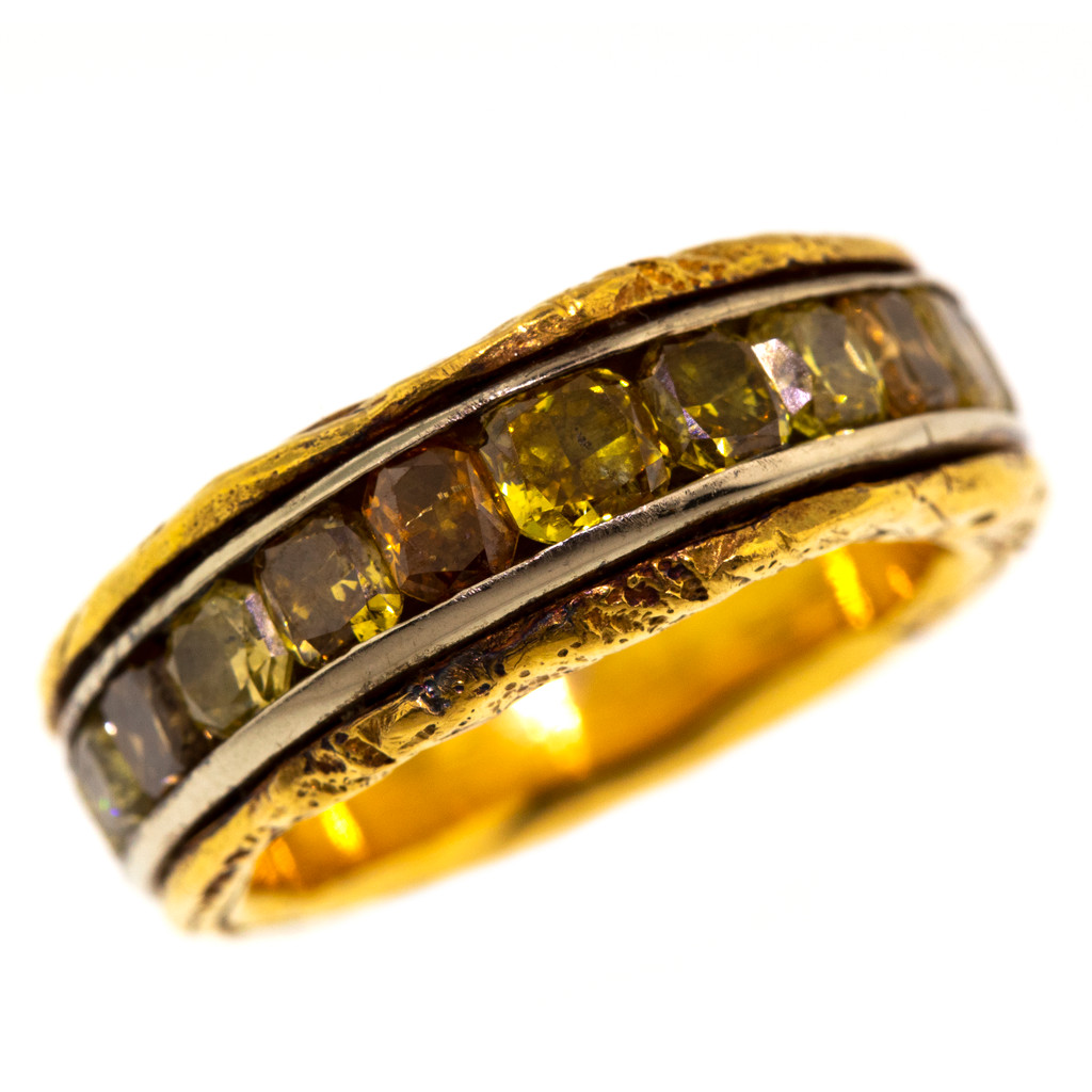 Cognac Diamond 18kt & 22kt Primitive Band made in the USA by Dan Peligrad for Cynthia Scott Jewelry