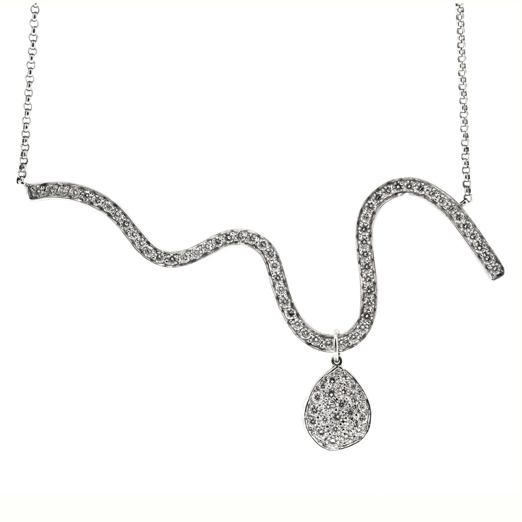Diamond Wave Necklace in 18kt and Platinum made in the USA by Dan Peligrad for Cynthia Scott Jewelry