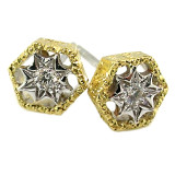 Honeycomb 18kt Diamond Stud Earrings made in Florence, Italy for Cynthia Scott Jewelry