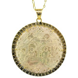 Antique Mother of Pearl Gambling Gaming Counter 18kt Pendant made in Florence, Italy by Cynthia Scott Jewelry