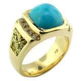 Kingman Mine Turquoise in 18kt Men's RIng