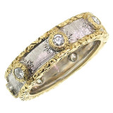 Rosa Florentine Engraved Diamond Eternity Band made in Italy for Cynthia Scott Jewelry