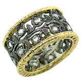 Carlotta Florentine Engraved Diamond Eternity Band made in Italy for Cynthia Scott Jewelry
