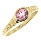 Pink Topaz 18kt Cassandra Ring made in USA by Cynthia Scott Jewelry