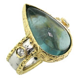 Blue Tourmaline Diamond 18kt Sienna Ring made in Florence, Italy by Cynthia Scott Jewelry