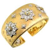 Liliana Florentine Engraved Diamond 18kt Cuff made in Italy for Cynthia Scott Jewelry