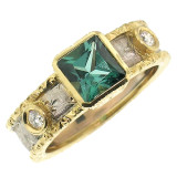 Blue Green Tourmaline 18kt Sienna Ring made in Florence Italy by Cynthia Scott Jewelry