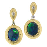 Black Opal Diamond 18kt Bianca Drop Earrings made in Florence, Italy by Cynthia Scott Jewelry