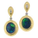 Black Opal Diamond 18kt Bianca Drop Earrings made in Florence, Italy by Cynthia Scott Jewelry