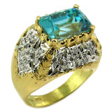 Cambodian Blue Zircon Aria Ring