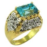 Cambodian Blue Zircon Aria Ring