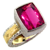 Rubellite Tourmaline 18kt Sienna Ring made in Florence, Italy by Cynthia Scott Jewelry