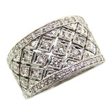 Lattice Florentine Engraved Diamond Band made in Italy for Cynthia Scott Jewelry