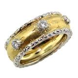 Camilla Florentine Engraved Diamond Three Stone Band made in Italy for Cynthia Scott Jewelry