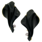 Steve Walters Carved Black Chalcedony Diamond 18kt Earrings made in USA for Cynthia Scott Jewelry