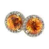 Mandarin Garnet Diamond 18kt Martini Halo Earrings
