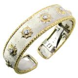 Donatella Florentine Engraved Diamond 18kt Cuff made in Italy for Cynthia Scott Jewelry