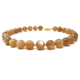 Peach Moonstone & 18kt Necklace made in USA by Cynthia Scott Jewelry