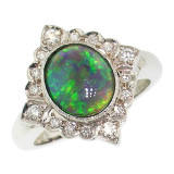 Australian Black Opal & Diamond 18kt Alessia Ring made in Florence, Italy by Cynthia Scott Jewelry
