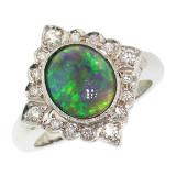 Australian Black Opal & Diamond 18kt Alessia Ring made in Florence, Italy by Cynthia Scott Jewelry