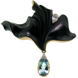 Steve Walters Carved Chalcedony and Aquamarine 18kt Pendant & Brooch made in USA by ART Guyon for Cynthia Scott Jewelry