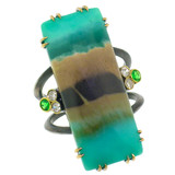18kt and Sterling Silver Shield Ring in Opalized Fossil Wood made in USA by Cynthia Scott Jewelry