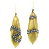 Rose Cut Diamond 18kt Pebble Earrings made in USA by Dan Peligrad for Cynthia Scott Jewelry