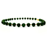 Chrome Diopside & Tsavorite 18kt Beaded Necklace made in USA by Cynthia Scott Jewelry