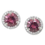 Pink Zircon & Diamond 18kt Martini Halo Earring made in USA by Cynthia Scott Jewelry