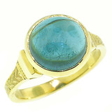 Blue Tourmaline (Indicolite) 18kt Cassandra Ring made in USA by Cynthia Scott Jewelry